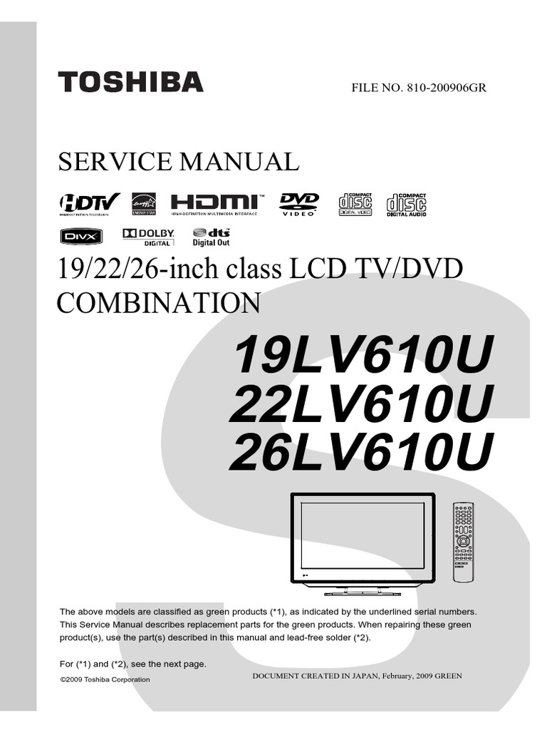 Service Manual for Toshiba TV/DVD Combo 26LV610U | Cable Television ...