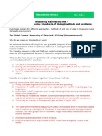 Standard of Living - Work Sheet 2