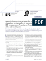 Principales Stipulations Contractuelles D- Un Managament Package LBO