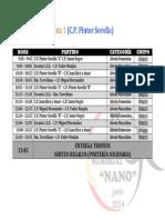 Horarios XXVII Torneo Nano