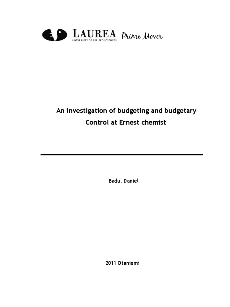 Budgetary case control dissertation study