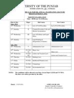 Date Sheet LLB Part 3 Punjab University
