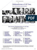 The Thirty Greatest Mathematicians