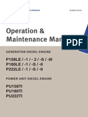 Operation and Maintenance Manual P158LE - P180LE - P222LE