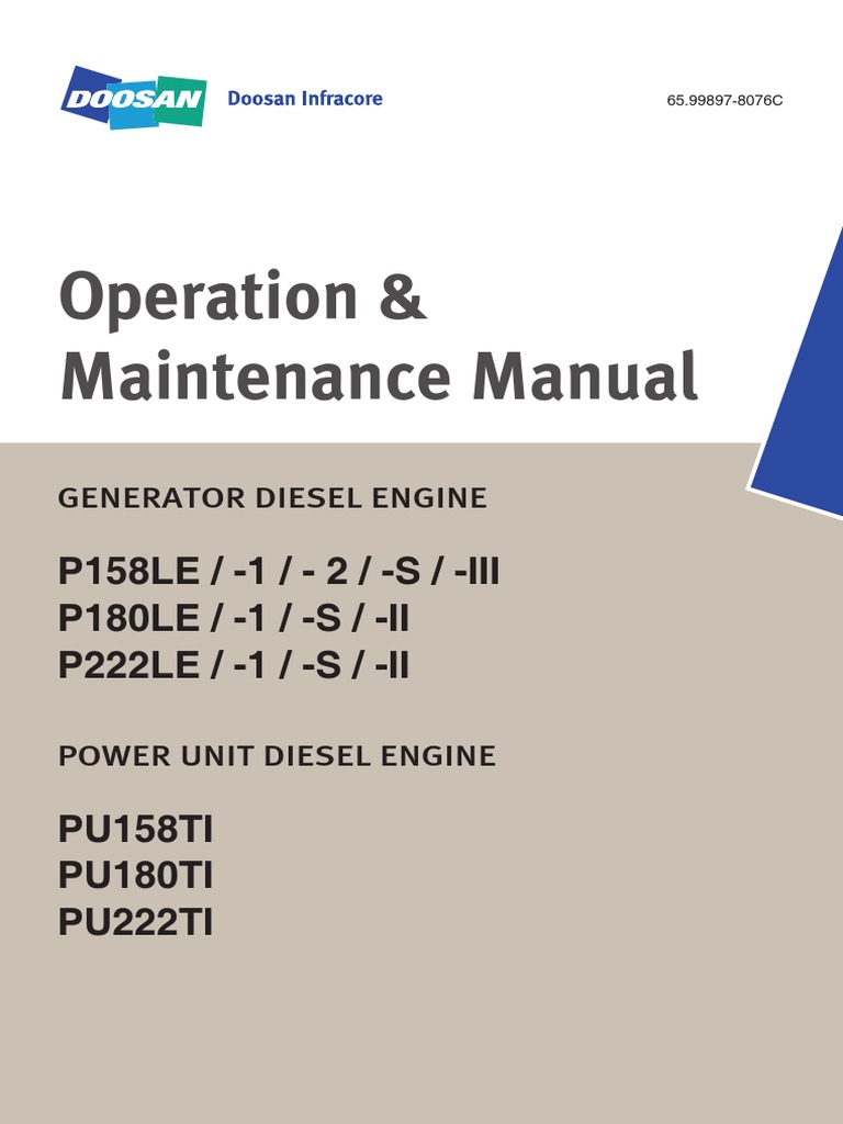 Operation And Maintenance Manual P158le - P180le