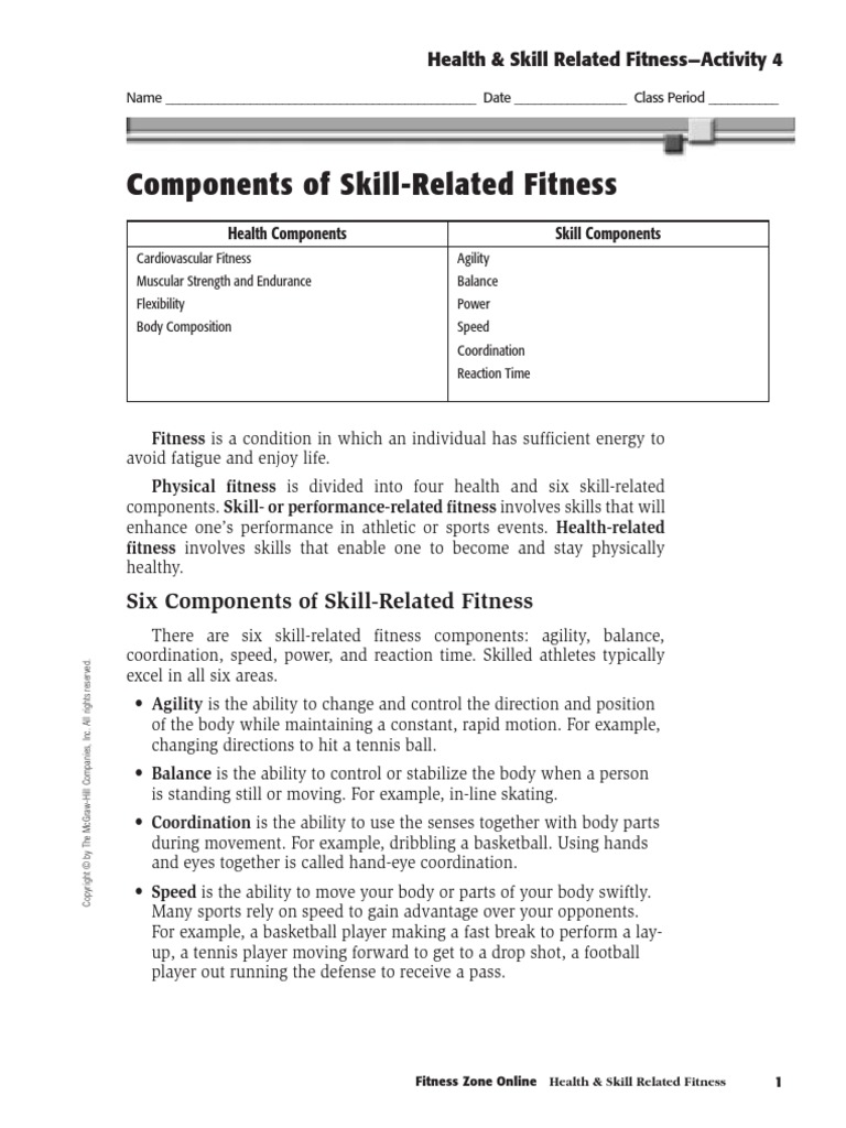 Health Skill Related Fitness Activity 4 | Physical Fitness ...