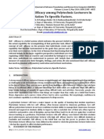 A Study of Self-Efficacy among Polytechnic Lecturers In Relation To Specific Factors.