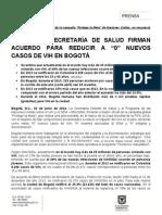 """ONUSIDA Y SECRETARÍA DE SALUD FIRMAN ACUERDO PARA REDUCIR A """"0"""" NUEVOS CASOS DE VIH EN BOGOTÁ"""