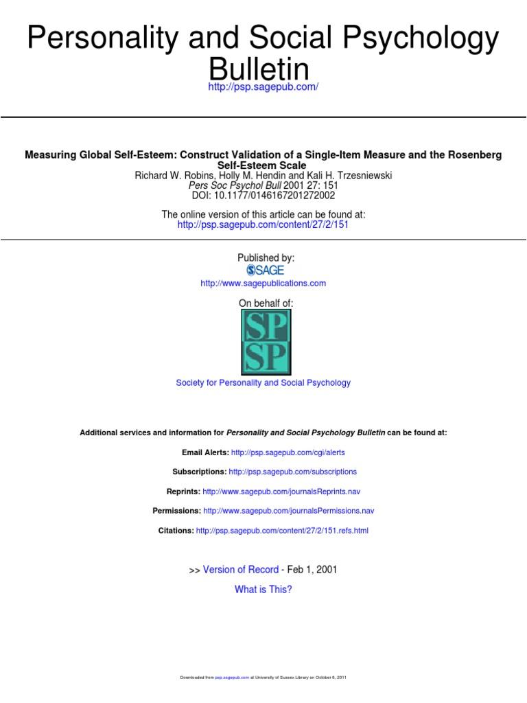 Robins Et Al 2001 One Item Self Esteem Self Esteem Social Psychology