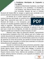 Boletin de Prensa Registro Candidatos Eleccion Extraordinaria 2014 Acajete y Cuapiaxtla de Madero