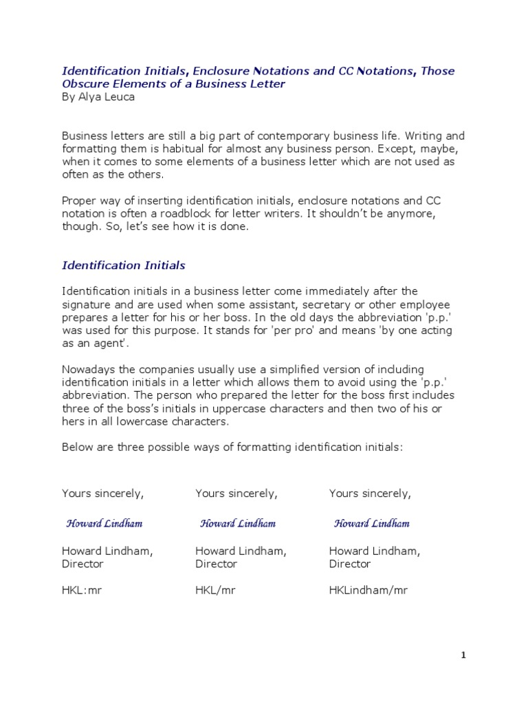 Identification Initials, Enclosure Notations And Cc Notations In A Business  Letter  Writtenmunication  Writing