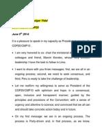 Speech Manuel Pulgar Vidal in Bonn #SB40 #COP20