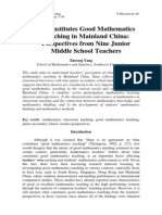 What Constitutes Good Mathematics Teaching in Mainland China Perspectives From Nine Junior Middle School Teachers