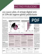 En cuatro años, el avisaje digital será  el 33% del ingreso global publicitario