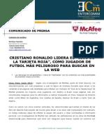 NP McAfee -Cristiano Ronaldo lidera el Club de la tarjeta roja como jugador de futbol más peligroso para buscar en la web