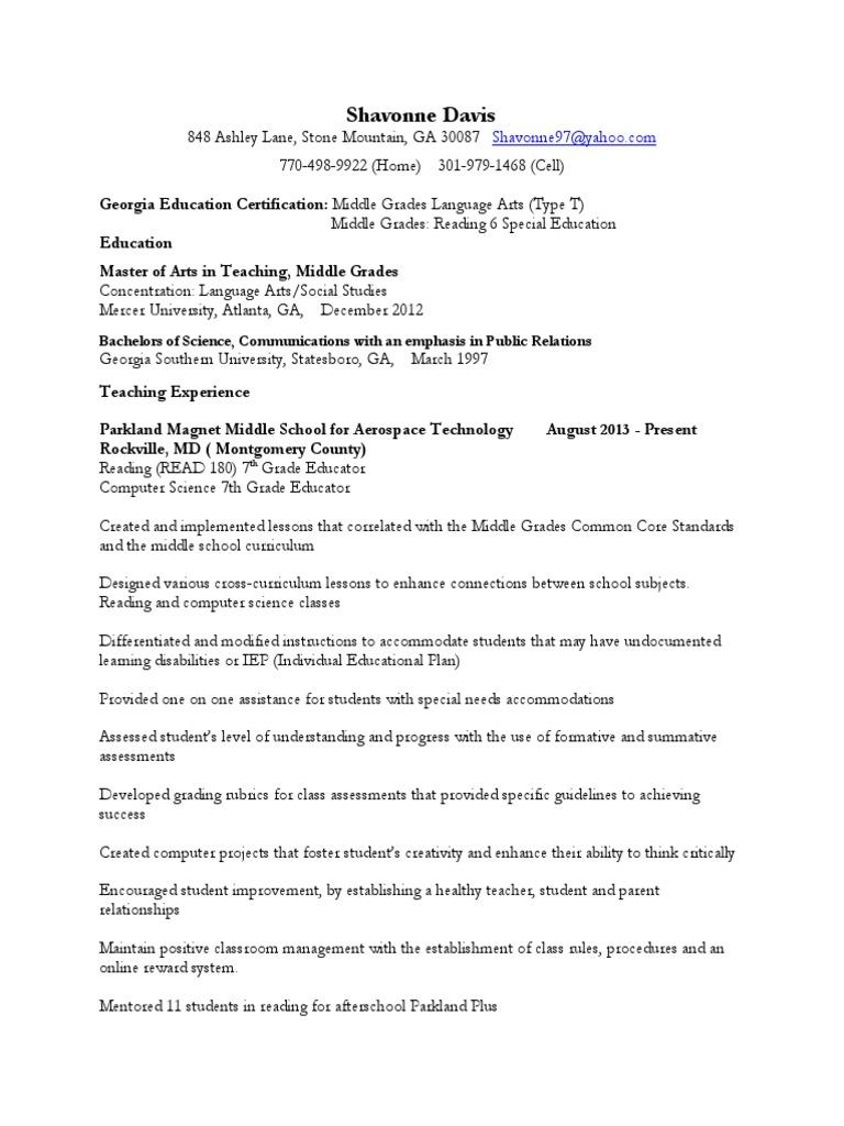 Teaching Resume 2014 Special Education Individualized Education