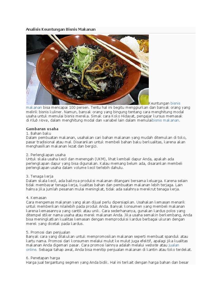 Analisis Keuntungan Bisnis Makanan