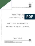 Proceso de Matricula Oficial 2014-2015 (1)