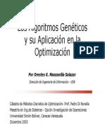 Los Algoritmos Genéticosy su Aplicación en la Optimización - Orestes Manzanilla