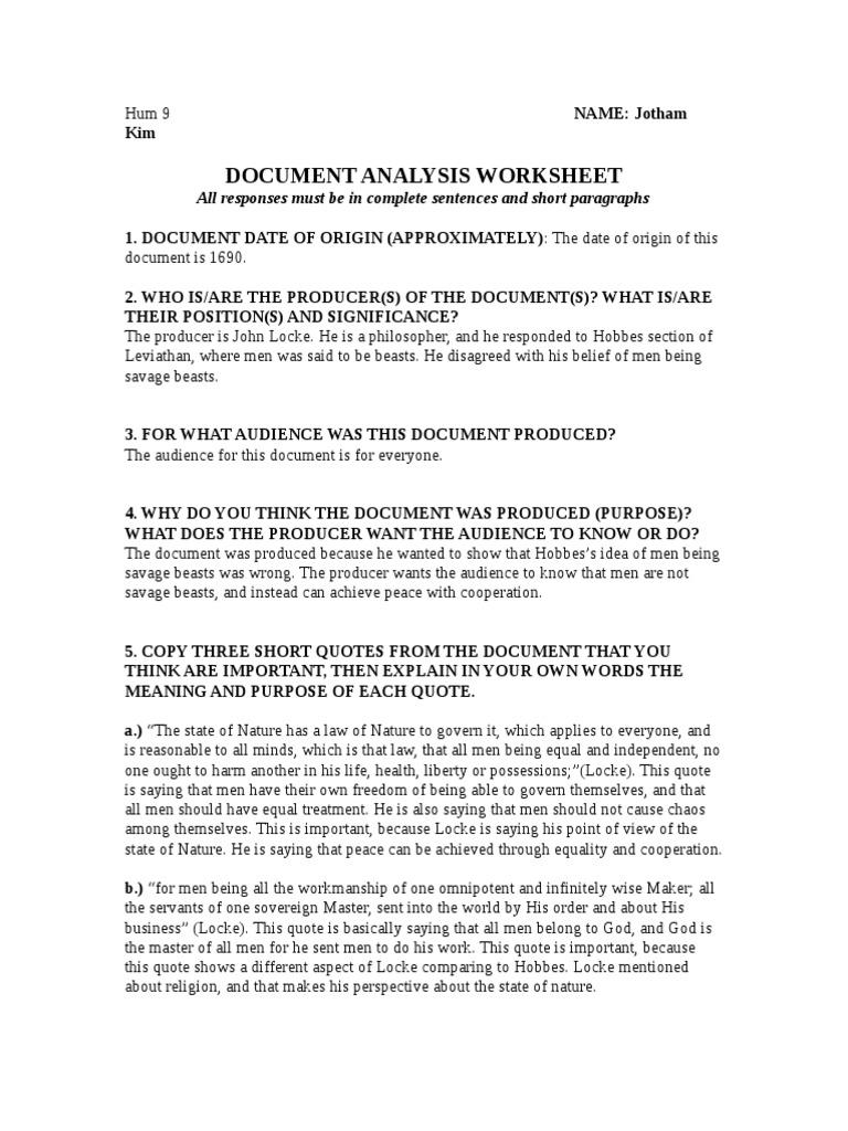 9th Grade Document Analyshiis Worksheet 4