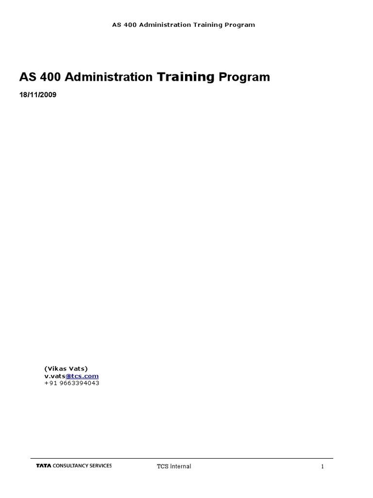 AS 400 Administration Training Program