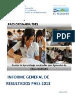 Informe de Resultados PAES 2013