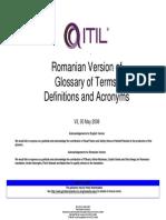 ITILV3 Glossary Romanian