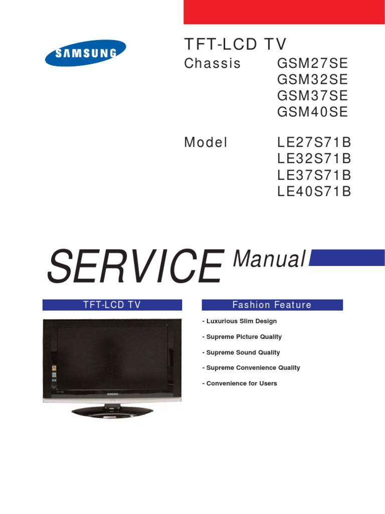 tv lcd le40s71b chassis gsm40se rh scribd com Samsung Washer Parts Manual Samsung Washing Machine Repair Manual