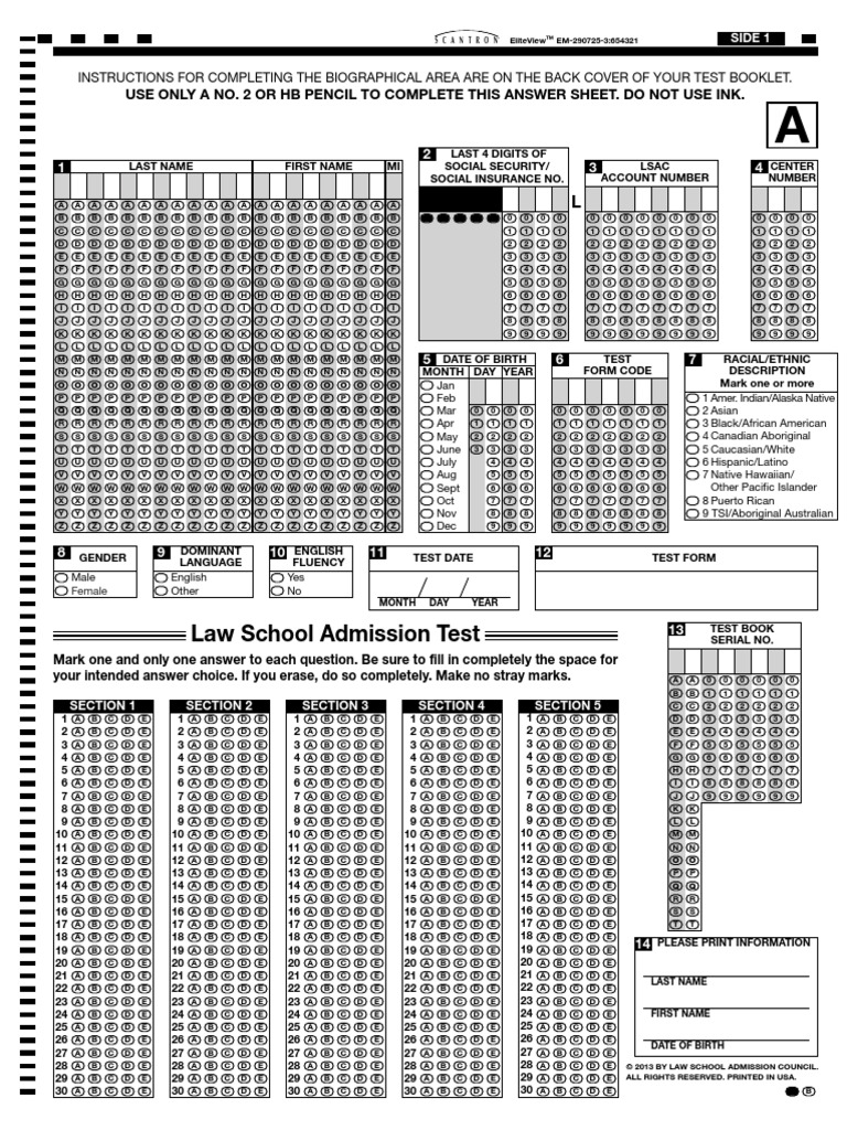 LSAT SCANTRON SHEET PDF