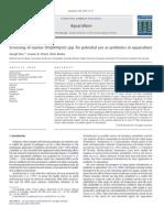 Screening of actinomycetes as probiotics in fish culture