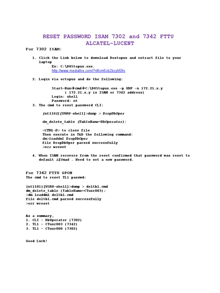 Reset Password Isam 7302 And 7342 Fttu Alcatel-Lucent