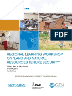 Regional Learning Workshop on Land and Natural Resources Tenure Security