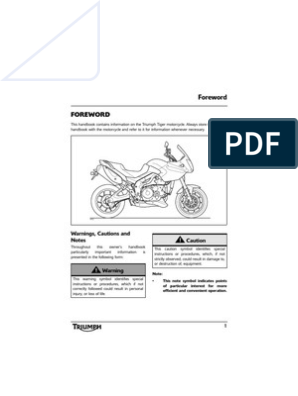 Triumph Tiger 1050 Owners Manual - T795NG-NH_OHB_UK | Motorcycle
