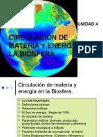 CIRCULACIÓN DE MATERIA Y ENERGÍA EN LA BISOFERA.