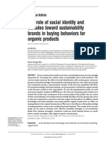 The Role of Social Identity and Attitudes Toward Sustainability Brands in Buying Behaviors for Organic Products