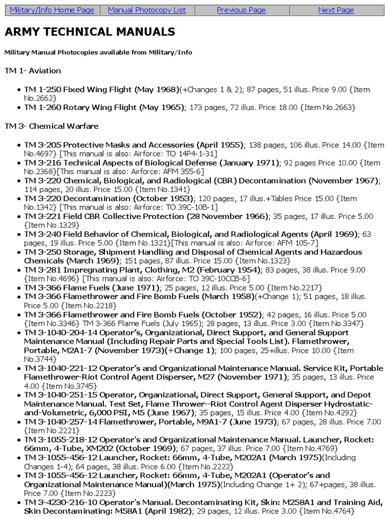 List US Technical Manuals Photocopy Master List | Electric Generator |  Engines