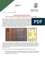 Marine Inspection Notice 01-12 Atex Equipment