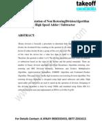 VHDL Implementation of Non Restoring DivisionAlgorithm Using High SpeedAdderSubtractor.
