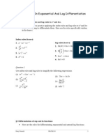 Worksheet on Exponential & Logarithm Differentiation