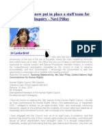 My Office Has Now Put in Place a Staff Team for the Sri Lanka Inquiry - Navi Pillay