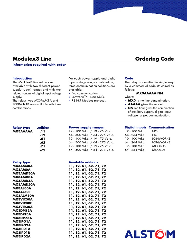 ALSTOM Power Supply Electrical Engineering - Alstom electromagnetic relay catalogue