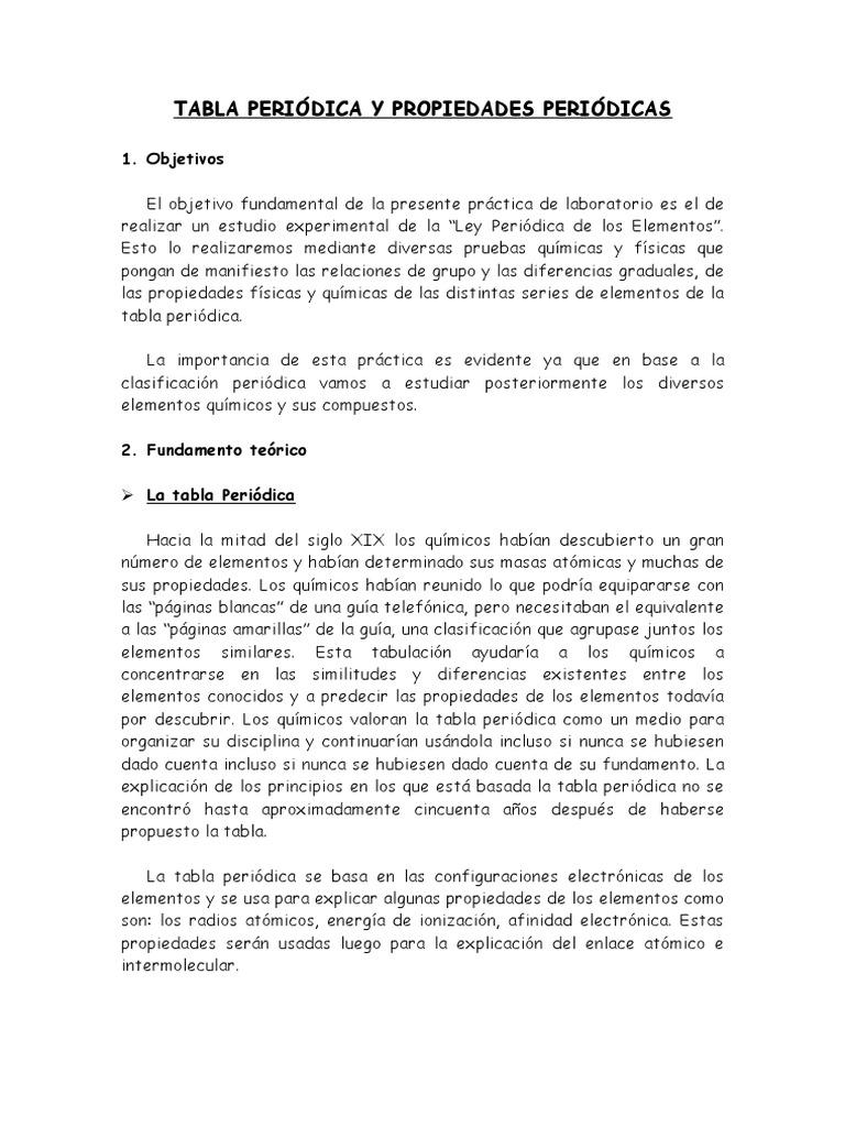 Tabla peridica y propiedades peridicas urtaz Choice Image