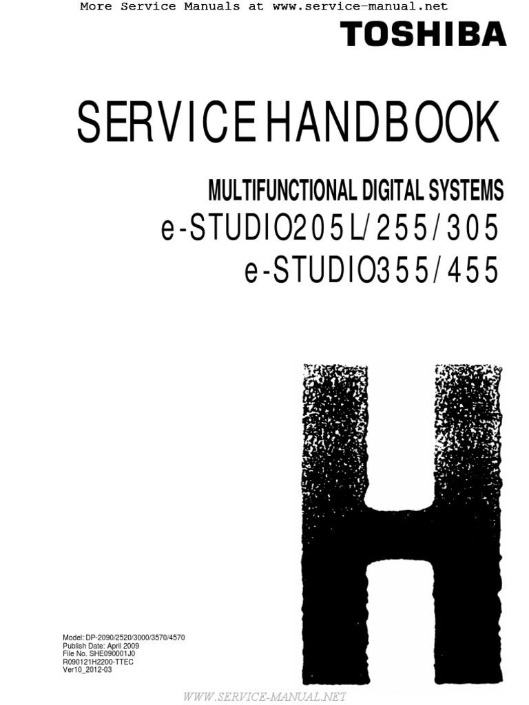 e studio 205l 255 305 355 455 mfp service handbook microsoft rh es scribd com Toshiba E Studio 456 Copier Toshiba E Studio 456 Internal Finisher