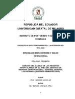 Analisis Del Manejo de Los Residuos Hospitalarios en El Area Del Servicio de Medicina Critica