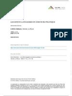 Alexandre Dorna - Les Effets Langagiers Du Discours Politique