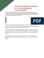 El Gobierno Envió Al Congreso El Proyecto Para Reducir El IVA a Las Pequeñas Empresas de Comunicación