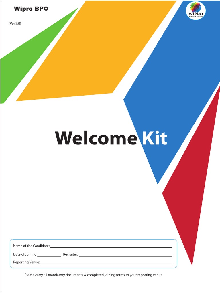 wipro bpo welcome kit