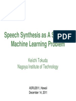 Speech Synthesis as a Statistical Machine Learning Problem Slides