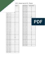 Gate PHYSICS 2013 Answer Key