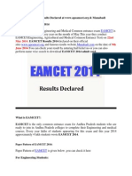 AP EAMCET 2014 Results Declared